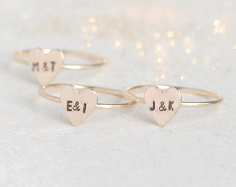 initial ring. gold heart ring. 14k gold filled stacking RING. custom initial jewelry. couples ring. best friend ring. Mother's Day ring.