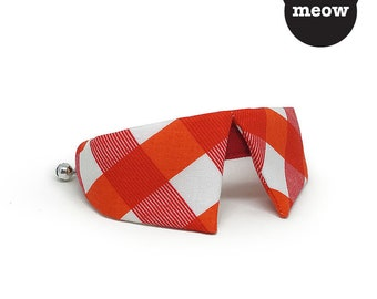 GOOOD Cat Collar | Dapper Sharp - Red Checkers | 100% Red & White Cotton Fabric | Safety Breakaway Buckle