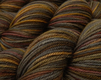 Hand Dyed Worsted Weight Yarn - Superwash Merino Wool Yarn - Agate - Hand Dyed Yarn, Indie Knitting Yarn, Earthtones, Grey Brown Gold