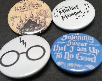 Harry Potter badges - 25mm - Mischief Managed - Marauders Map - Glasses - Scar - Hogwarts - Book - Pin back button