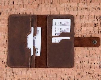 Leather Passport Cover, Passport Cover, Leather Wallet, Wallet, Leather Phone Case, Card Holder, Business Card Case, Mens Wallet - BROWN
