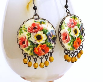 Large Floral Chandelier Earrings Vintage Flower Poppy Earrings Poppy Jewelry Statement Victorian Earrings