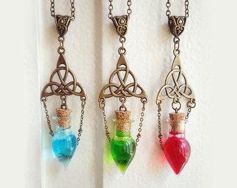 Celtic Necklace, Potion Necklace, Bottle Necklace, Glass Bottle necklace, Vial pendant, Potion Pendant, Tiny Bottle, Triskel, triqueta