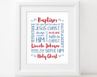 LDS Baptism Subway Art - Custom Digital Wall Art Print PRINTABLE Personalized Boy Table Sign Great to be Eight Primary Baptismal Gift Decor