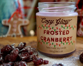 Frosted Cranberry Christmas Soy Candle 6.8oz Jar