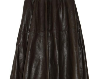 S_004) Vintage Brown leather Enkelrok