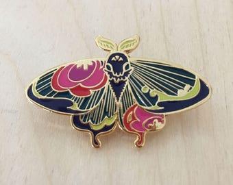 Floral Moth (Indigo) - Enamel Pin