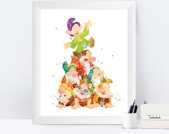Seven Dwarfs Print, Seven Dwarfs, Snow White, Watercolor Print, Nursery Wall Art, Kids Room Decor, Snow White Print, instant download