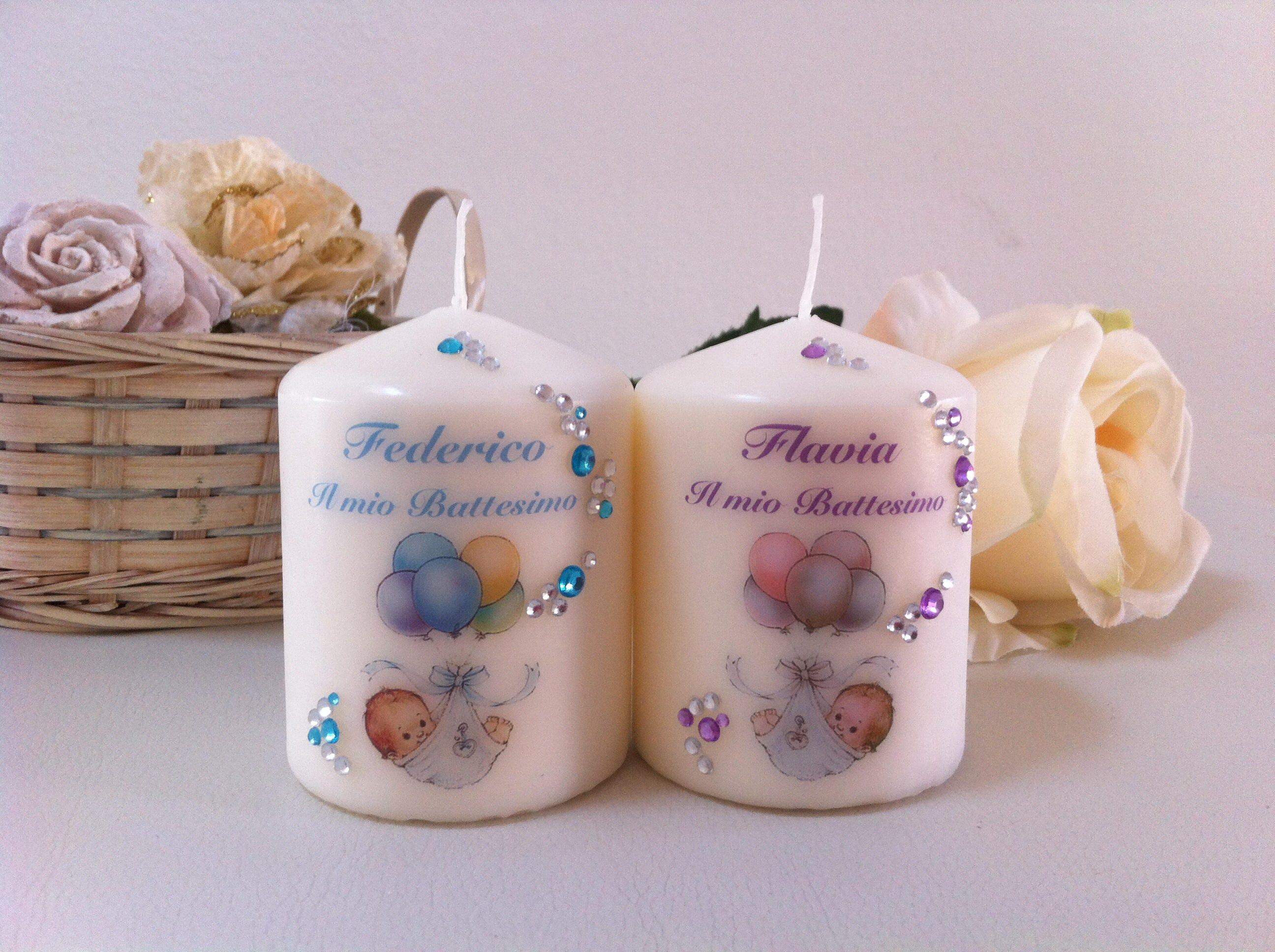 Favoloso Candele bomboniere per battesimo personalizzate e decorate con QF64