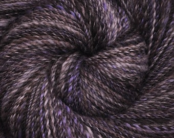 Hand spun yarn - Hand dyed Blue Faced Leicester (BFL) wool, DK weight, 300 yards - Evening Snow