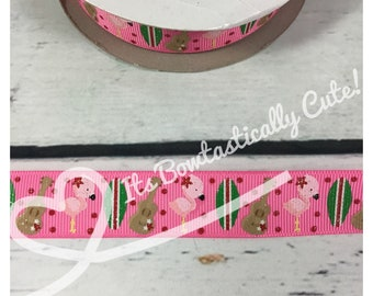 """7/8"""" Grosgrain Aloha Surf Flamingo with Lt. Glitter on Pink or White   High Quality USDR Ribbon"""