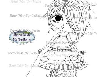 INSTANT DOWNLOAD Digital Digi Stamps Big Eye Big Head Dolls Digi  My - Besties Blakely Ann Pull Toy By Sherri Baldy