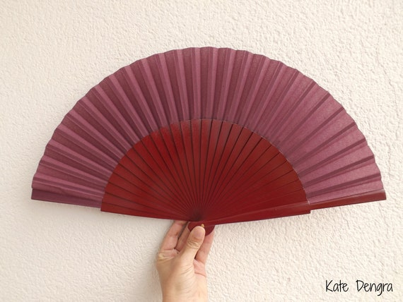 L Burgundy Wood Hand Fan Ready To Customize