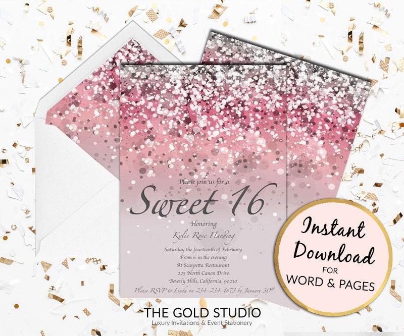 Sweet 16 invitation | Pink Glitter Sweet Sixteen | 16th Birthday ...