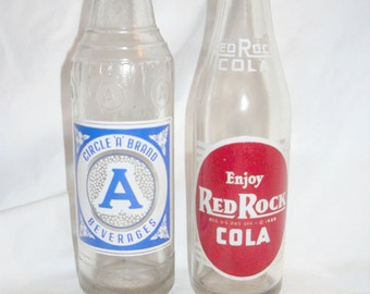 "Red Rock Cola Bottle and a Circle ""A""  Brand Beverages Bottle, Two Vintage 9 Ounce Pop Bottles, Soda Bottle, Returnable,Vintage Pop Bottle"