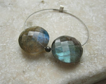 Aqua Labradorite Coin Beads Faceted Center Drilled 12mm - Matched Gemstone Pair