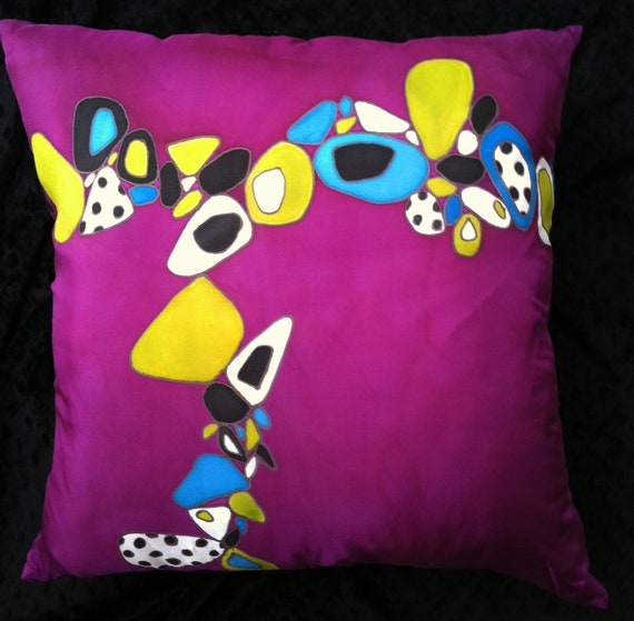 PURPLE HAZE -Hand Painted Silk Decorative Pillow -  Made to Order