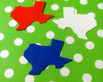 24 STATE of TEXAS Red, white and blue 1.4 inch confetti  hand punched, paper punch,craft projects, gift tags