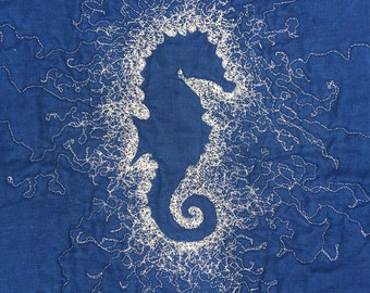 Seahorse Baby Quilt or Play Mat