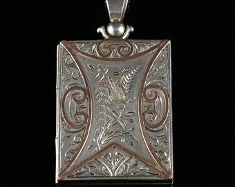 Antique Victorian Silver Scottish Gold Box Locket Circa 1880