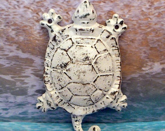 Turtle Cast Iron Wall Hook Shabby Elegance White Sea Life Nautical Decor Hat Key Jewelry Pet Leash Small Item Tail Hook