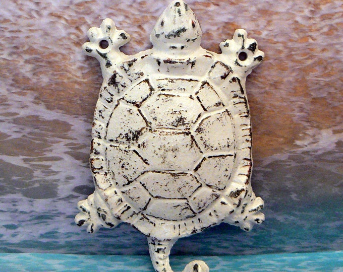 Turtle Cast Iron Wall Hook White Shabby Chic Sea Life Beach Nautical Decor