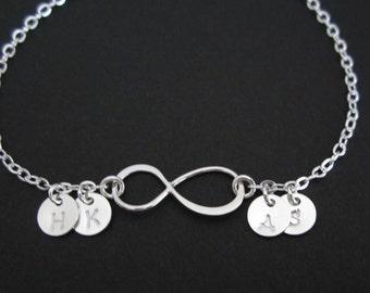 Infinity Bracelet. 4 Silver Initial Bracelet. Personalized Jewelry. 4 Best Friends.4 Sister Bracelet.Sterling Silver Family Keepsake Jewelry