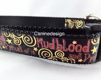 Dog Collar, Mudblood, 1 inch wide, adjustable, quick release, medium, 13-19 inches