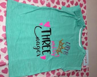 Girls Toddler Shirt #LittleMissThreenager