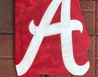 Antiqued alabama shape with crimson tide logo