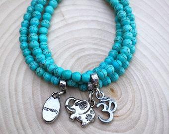 Turquoise/Boho Style/Stacking Bracelets/Ohm/Harmony/Elephant/Layering/Beach Style/Yoga Jewelry