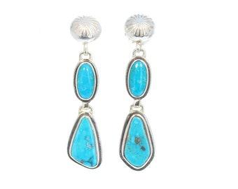 Morenci Turquoise Earrings 2 Stones Sterling Arizona Southwest NewWorldGems