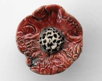 Ceramic beads, Raku, flower pendant, red, 1 X