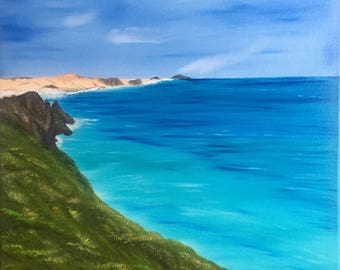Original Oil Painting Beach Cape Reinga Blue Ocean