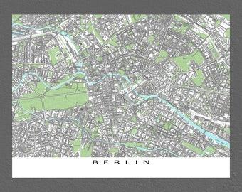 Berlin Map, Berlin Art Print, Berlin Germany, City Map Prints
