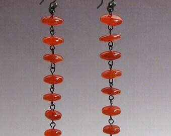 Gemstone drop earrings - Carnelian discs