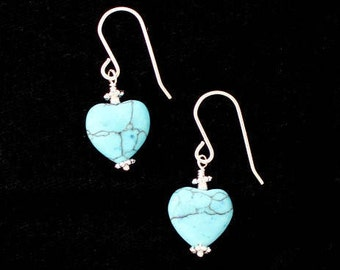 Howlite Heart Earrings