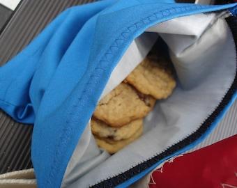 Blue Reusable Cloth Sandwich Bag with Velcro Closure