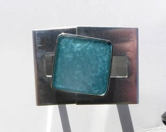 Stainless Metal square turquoise ring