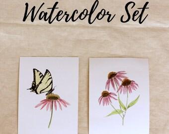 Watercolor Flower Set, Classroom Art, Little Girl Room Art, Floral Print Set, Botanical Print Set, Homeschool Decor, Print Set of Two,