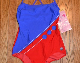 Vintage 70s Swimsuit - Red White & Blue - One Piece Sporty Maillot - Rose Marie Reid - NOS - m