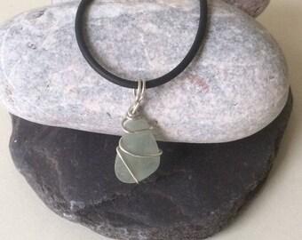 Silver wire wrapped seaglass pendant
