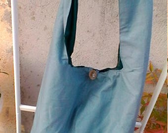 Blue cotton hobo bag with inner pocket