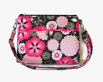 Floral Crossbody Bag Purse - Zipper Closure - Pink Gray Messenger Bag - Medium Cross Body - Outside Pockets - Shoulder Bag - Womens Handbag