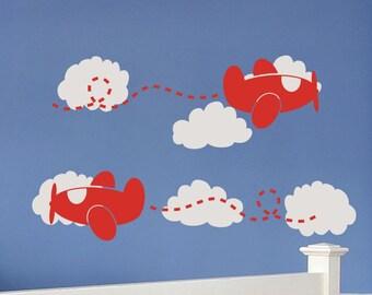 Airplane Nursery Airplane Decor Airplane Wall Decals Airplane Wall Art Cloud Wall Decals Cloud Decals Baby Boy Nursery Wall Decal Wall Decor