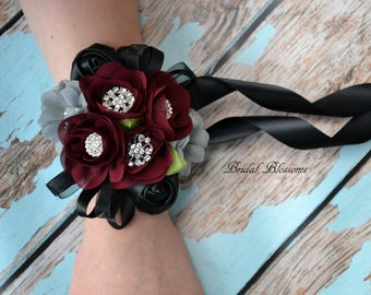 Burgundy Black Gray Chiffon Satin Flower Wrist Corsage | Vintage Inspired Wedding | Prom Homecoming Flowers Bout Dark Red | Boutonniere