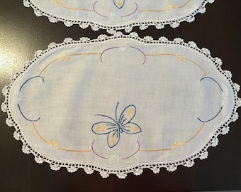 Set of Two Vintage Embroidered Butterfly Side Table Topper