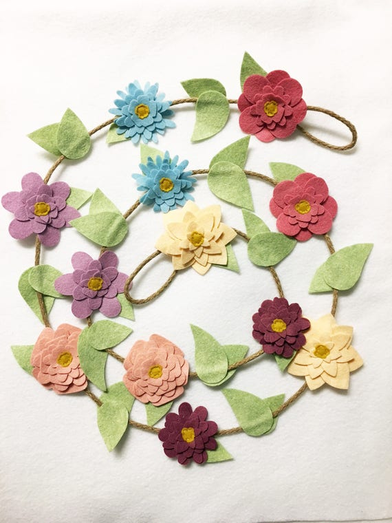 Flower Garland, Vintage Blooms, Felt Flower Garland, Posable Twine, Wedding Decor, Nursery and Party Decoration