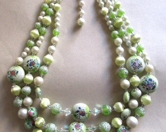 Vintage Art Glass Mille Fiore Crystal Green Multi Strand Necklace Eye Candy  Costume Jewelry Beads 1950's Mid Century MoonlightMartini