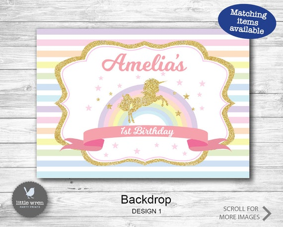 Unicorn Backdrop Poster Unicorn Backdrop Unicorn Party